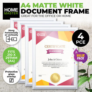 4 Pack Document Certificate A4 Frame Matte White Horizontal Vertical Stylish