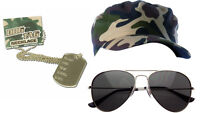 Adults fancy dress Soldier G.I Jane Hat ARMY CAP & AVIATOR GLASSES  DOG TAG SET