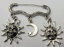 SUN MOON STAR CHARM SILVER TONE BROOCH / PIN