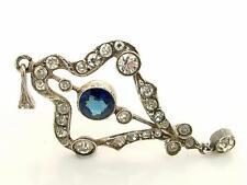 Antique Estate Edwardian Continental Silver & Blue Paste Drop Lavalier Pendant