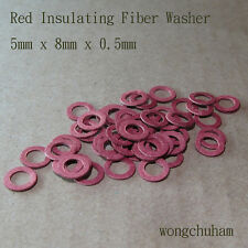 50 pcs Red Insulating Fiber Washers (5mm x 8mm x 0.5mm)