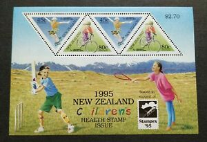 1995 New Zealand Children Health Games Tennis Cricket Cycling Stampex MS Mint NH
