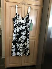 American Living Dress Size 12 Womens Black White Floral Empire Party Cocktail