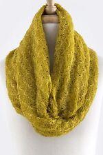 B149 Crochet Open Weave Knit Lightweight Mustard Yellow Infinity Scarf