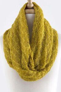 Crochet Open Weave Knit Lightweight Mustard Yellow Infinity Scarf B10