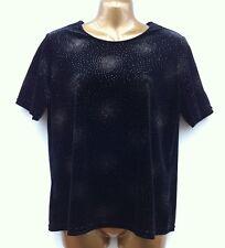 NWOT BM Sparkly Black Stretchy Velvet Top Size Small UK 10-12 BONMARCHE