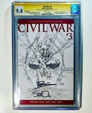 Civil War #3 CGC 9.4 Spider-man Iron man Capt. America Signed Vines McNiven 2006