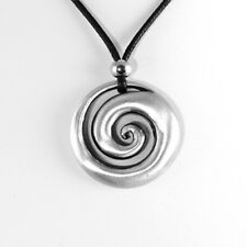 Spiral Necklace Mens Womens Black Cord Pewter Swirl Circle Round