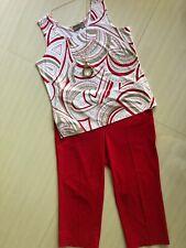 Women's Chico's Outfit: 2.0 (12) Top; 1.0 (8) Capris. NWOT Necklace. EUC! 2A