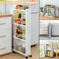 New Slim Slide Out Kitchen Trolley Rack Holder Storage Shelf Organiser on Wheels