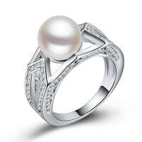 Fashion 925 Silver Women Jewelry Round Cut White Pearl Wedding Ring Size 6-10