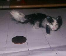 New listing Ooak Dollhouse Miniature Long Hair Black And White Tuxedo Cat