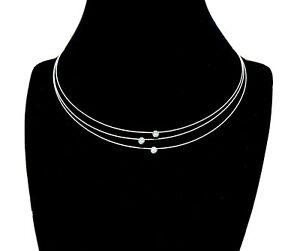 """18K Yellow Gold 0.3 TCW Diamonds 16"""" 3 Strand Wire Cable Choker Necklace - ITALY"""