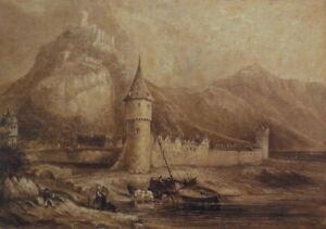 Antique C19th Sepia Watercolour Painting Katz Castle Rhine Germany Boat Figures