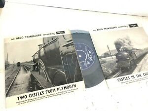2 STEAM EP RECORDS ARGO TRANSACORD EAF100 CASTLES PLYMOUTH & EAF84 IN CHILTERNS