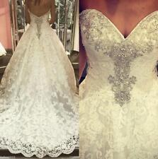 2019 White/Ivory Sweetheart Crystals Lace Wedding Dress Court Train Bridal Gown