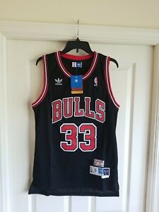 NWT Scottie Pippen Chicago Bulls BLACK Jersey Throwback Classic Retro SMALL