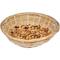 Set Of 12 Vintage Round Natural Bamboo Wicker Bread Basket Storage Hamper Trays