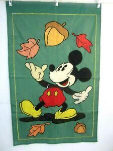 Disney Vintage 1990s Mickey Mouse garden flag 44x28 Fall Leaves 2-side nylon