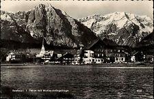 Seefeld Tirol Österreich s/w AK 1954 gelaufen Teilansicht mit Wettersteingebirge
