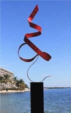 Red Modern Abstract Metal Art Sculpture - Indoor Outdoor Home & Garden Decor