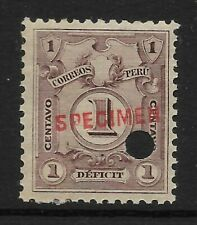 STAMPS-PERU. 1921. 1c Purple. ABNCo Specimen. 14mm. SG: D419 var. MNH
