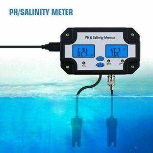 PH Salinity Monitor LCD Water Quality Tester Meter For Swimming Pool Aquarium