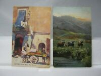 Two 1908 Posted Raphael Tuck & Sons Post Cards Naples & Glen Gyle Scenes