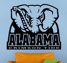 Alabama Crimson Wall Decal Logo Vinyl Sticker Art Sport Home Decor NCAA Football