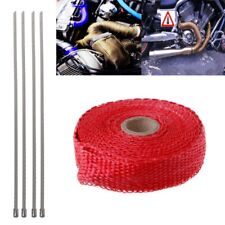 5M Red Motorcycle Turbo Manifold Heat Exhaust Wrap Tape Thermal Stainless Ties
