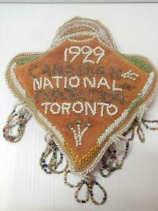ANTIQUE DATED IROQUOIS INDIAN BEADED WHIMSY PIN CUSHION TORONTO CANADA EXPO 1929