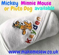 PERSONALISED BABY HOODED TOWEL NAME MICKEY PLUTO MINNIE BABYSHOWER GIFT
