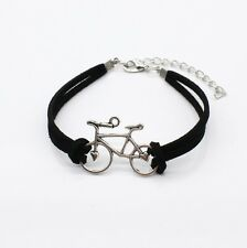 BICYCLE FRIENDSHIP BRACELET Jewellery Gift Idea Black Faux Leather Boho Hippie