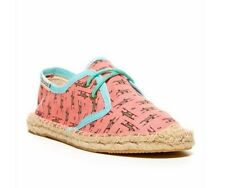 NEW SOLUDOS GIRLS DERBY PRINT LACE UP ESPADRILLE FOXES CORAL PEACH SIZE 13