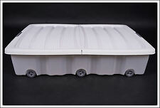 XXL Unterbettkommode weiß 60 L - Unterbettbox Rollenbox Spielzeugkiste Rollbox