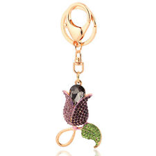 Handbag Buckle Charms Accessories Purple Tulip Flower Keyrings Key Chains HK119