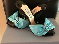 NEW Prada Black Tiffany Blue Bow Leather Shoes Slide Sandals Mules Size 38
