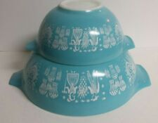 2 - Vintage Pyrex Turquoise Amish Butterprint Cinderella Mixing Bowls #442 & 444