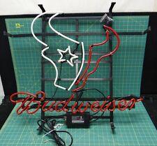 "Houston Texans Budweiser Neon Sign Nfl Football 32.75"" x 27.5"" Wall Hanging"