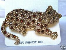 Leopard Pin Brooch Large Gold Tone with Chocolate Brown and Black Crystals 2.44""