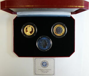 2000 Gibraltar Tuppenny Blue Three Coin Set, In Box w/ COA, Gold, Titanium Coin