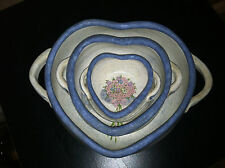 3 VINTAGE HAND CRAFTED POTTERY HEART SHAPED NESTING BOWLS COUNTRY KITCHEN DECOR