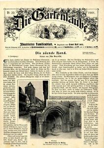 Der Eisenturm in Mainz Dekorative historische Titelblatt-Vignette von 1901