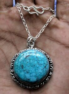"""Turquoise Gemstone 925 Sterling Silver Handmade Jewelry Necklace Size-17-18"""""""