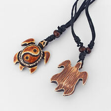 New 1Pcs  Brown Faux Yak Bone Carved Yin Yang Turtle Charms Pendant Necklaces