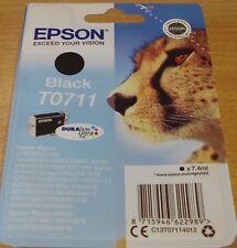 GENUINE EPSON T0711 TO711 Cartouche Noire Vide Scellé Original OEM Cheetah encre