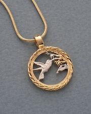 "Hummingbird Pendant & Necklace Trinidad One Cent Hand Cut3/4"" diameter #596"