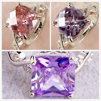 New Fashion Jewelry Pink & White Gemstone Silver Ring US Size 6 7 8 Women Gift