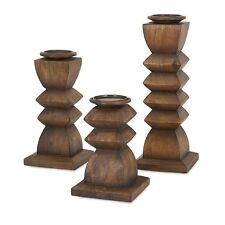 IMAX 73389-3 Desta Wood Candleholders - Set of 3 NEW