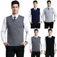Mens Knit Slim Fit Sweater Pullover Argyle Jumper Vest Sleeveless V-Neck Tops